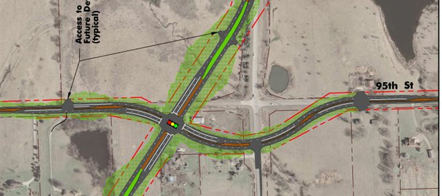 Johnson County's plan to realign the Kill Creek Road/95th Street intersection south of K-10 and veer the future parkway to the west was meant to aid access control on a parkway, county officials told the De Soto City Council last week.