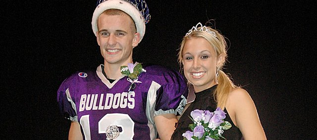 Baldwin High School seniors Clad Kueffer, left, and Haley Finucane were crowned homecoming king and queen Friday night. Baldwin beat De Soto 14-0 in the football game to advance its record to 3-1.