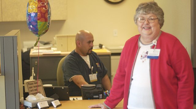 After 35 years at the local health clinic, Joan Barenklau retired Tuesday. There will be an open house for her from Oct. 10 at the clinic.