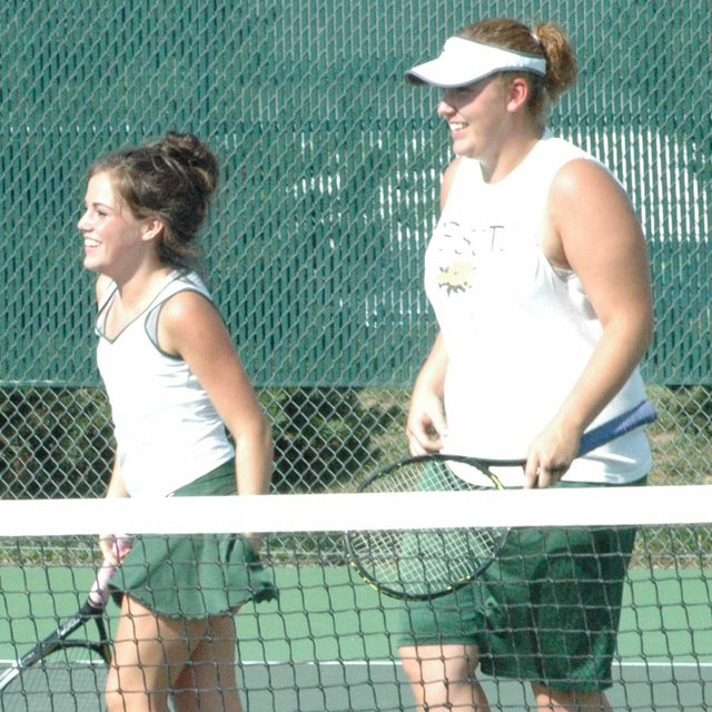 Suzie Gulley and tennis partner Hana Lindbloom won the Wildcat Invitational doubles competition last Saturday at De Soto.