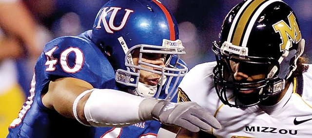 Mike Rivera (40), a 2004 graduate of Shawnee Mission Northwest and linebacker for the University of Kansas football team, has been a standout on and off the field at KU.