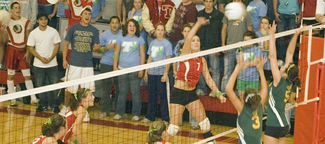 Tonganoxie High senior Megan Puhr goes for the kill on Senior Night against Basehor-Linwood. The Chieftains swept the Bobcats at THS on Tuesday, Oct. 7.