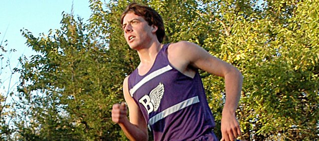 Baldwin High School sophomore Tony Weiss won the Frontier League boys' cross country title Thursday at the Gardner-Edgerton course. Both BHS teams won the team championships after their streaks of 10 or more straight league titles ended last year.