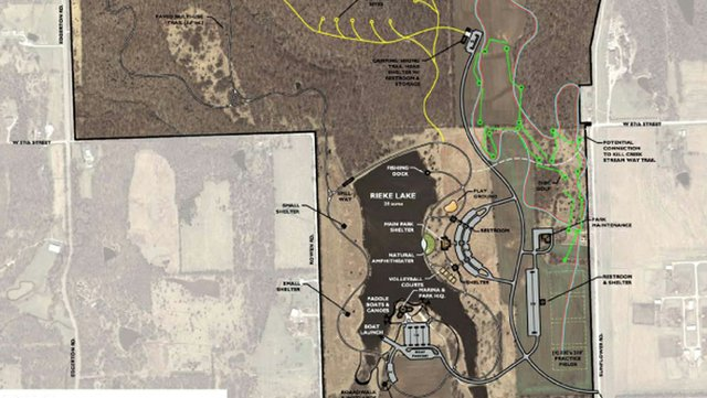 The Johnson County Park and Recreation District Board of Commissioners is to receive master plans Wednesday evening for the Rieke Lake property just west of De Soto, Sunflower Nature Park and Cedar Niles parkland.  The Rieke Lake and Sunflower Nature Park master plan were developed with the aid of two public workshops this summer in De Soto.