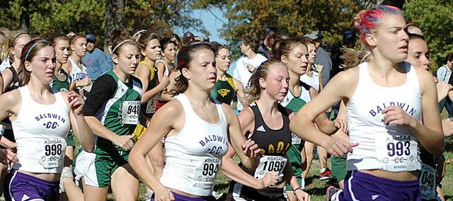 Baldwin High School girls' cross country runners, from left, Julie Hill, Calleigh Durr and Corinna Papps battle through the pack as the Class 4A regional race begins Saturday.