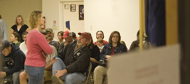 A full room of voters wait to cast their ballots at the Tonganoxie VFW even after polls closed at 7 p.m. Tuesday.