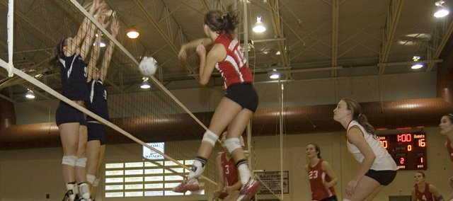 Abby Eisman, one of eight Tonganoxie High volleyball players who will return next season, elevates for a spike during the Chieftains' three-game victory against Mill Valley in a Kaw Valley League semifinal on Saturday, Oct. 18.