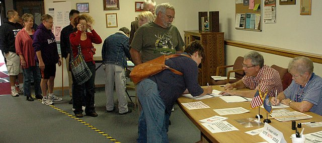 There were lines throughout the polling places around Baldwin City for the election Tuesday, such as this one at the Baldwin City Fire Station. A record number of voters turned out.