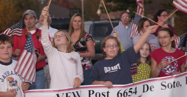 Members of De Soto VFW Post 6654, its men and women's  auxiliaries, and their families  welcome home from Iraq U.S. Marine Staff Sgt. Herbert Ochoa.