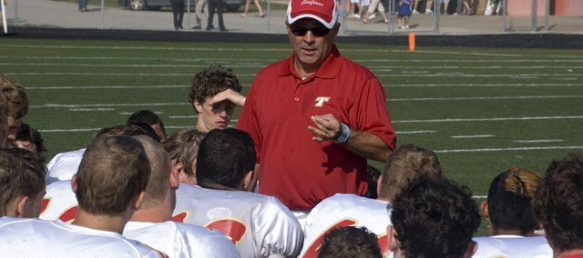 Mark Elston, Tonganoxie High football coach, saw the Chieftains' win total jump from one in 2007 to five in 2008.