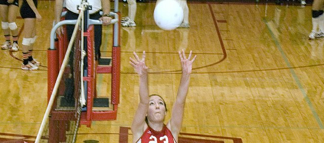 Chrissie Jeannin, Tonganoxie High senior setter, played for the Kansas small class team in the 2008 MO-KAN All-Star Volleyball Match on Monday, helping the team to a 4-0 sweep of its Missouri opponents.