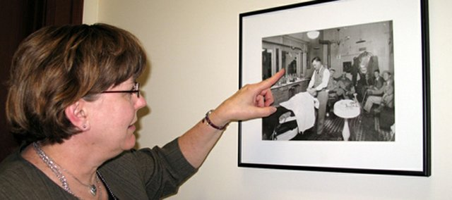 County Counselor Keyta Kelly talks about her favorite photo in the Leavenworth County Courthouse. It shows Albert Conley&#39;s barbershop in Tonganoxie in the 1930s.
