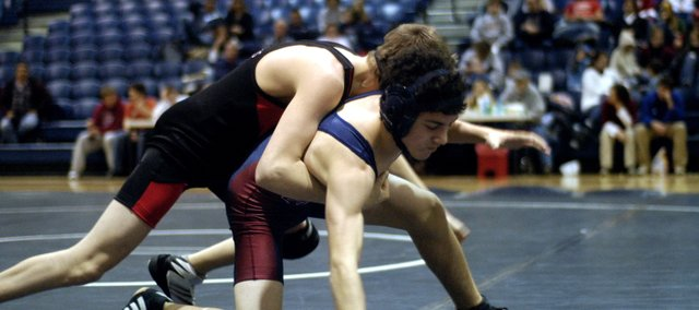Eudora sophomore Zac Chumbley wrestles during a match last season. The Cardinals began wrestling practice Monday and open the season Dec. 2.