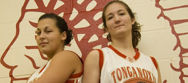 Roni Grizzle and Chrissie Jeannin will be counted on to provide senior leadership to a young Tonganoxie High girls basketball team this season.