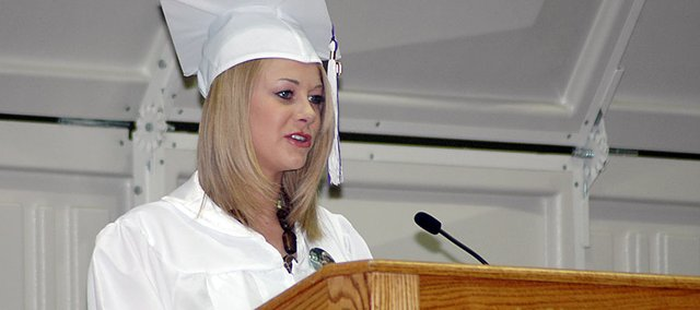 Alex Bergan introduced speaker Merle Venable at May's Baldwin High School graduation. Bergan was one of 84 graduating seniors last spring.