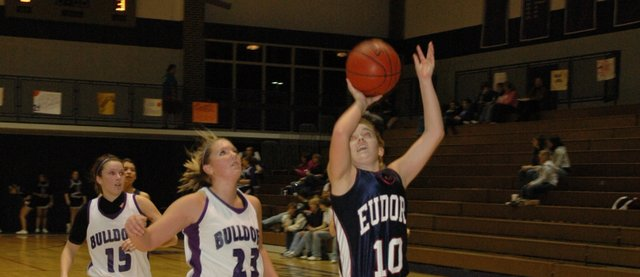 Senior Rachel Pyle goes up for a shot Friday night at Baldwin. Pyle scored five points in Eudora's 43-29 win over its league rival.