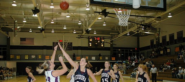 Baldwin High School senior Alex Zordel, left, attempts a baseline shot over Eudora's Kelsey Epperson Friday night. Baldwin lost to the Cardinals, 43-29.