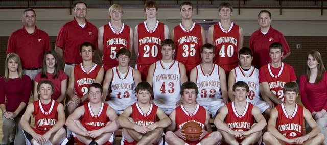 The Tonganoxie High boys basketball team is, front row, Austin Hrabe, Tucker Hollingsworth, Lucas Ahart, Jacob Cannon, Jeremy Carlisle, Keith Slater, middle row, manager Daigen Shepley manager Kailan Kuzmic, Dylan Scates, Jace Waters, Austin Smith, Jamie Everett, Rob Schlicht, Corey Klinkenberg, manager Taylor McLaughlin, back row, assistant coach Brad Shelton, head coach Shawn Phillips, Brandon Yoder, Dane Erickson, Keaton Schaffer, Justin Jacobs and assistant coach Brad Kempf.