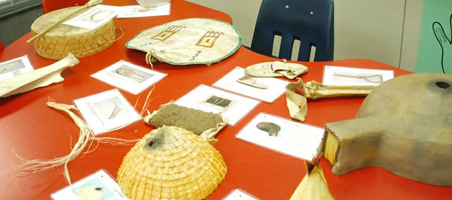 Mize Elementary School students are learning about Plains Indians with the aid of a trunk the Kansas Historical Society provided filled with Native American artifacts.