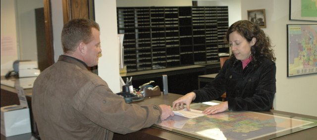 Incumbent Eudora City Councilman Bill Whitten files for candidacy at the Douglas County Courthouse.