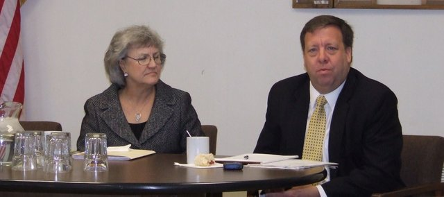 42nd District state Rep. Connie O'Brien and State Sen. Tom Holland speak Saturday at a legislative update event, hosted by the Veterans of Foreign Wars Post 9271 in Tonganoxie.