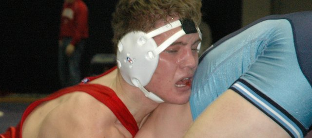 Jeremie Maus competes at the Baldwin Invitational on Saturday. The Tonganoxie High junior went 2-2 in the 171-pound division for fifth place at the tournament as THS finished ninth in the team standings.