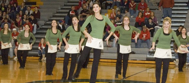 The Basehor-Linwood Dazzlers perform during halftime at Tuesday night's basketball game at Basehor-Linwood High School. The dancers won several awards this year at their January competitions.