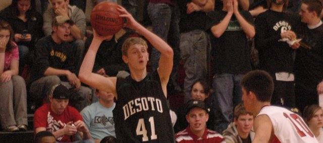 Brandan Philbrook scored three points in De Soto's 55-53 loss Friday night at Ottawa. De Soto had a chance to win the game late, but came up just short.