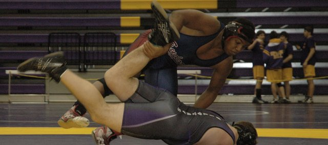 Boomer Mays wrestles Saturday at the Frontier League Tournament. Mays, a sophomore, won the league championship in the 215-pound weight class. Next up for Eudora is the regional meet this weekend at Spring Hill.