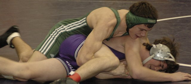 De Soto's Daniel Goodin wrestles at the Frontier League Tournament Saturday at Spring Hill. Goodin finished seventh in the 140-pound weight class. De Soto had seven wrestlers place in the top-5 at the tournament.