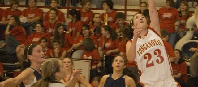 Chrissie Jeannin goes in for a layup during Tonganoxie High's 60-56 win over Mill Valley. Jeannin scored 20 for the Chieftains.