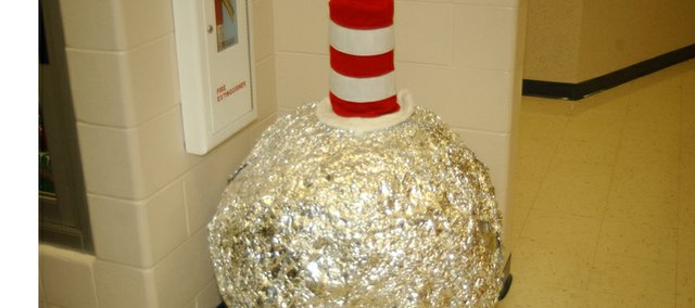 Bob the Ball, a ball of scrap aluminum Starside Elementary School students have collected for recycling this year gets in the spirit Monday of Dr. Suess week. Bob was one of several green initiatives that led to Starside being named Green School of the Year.