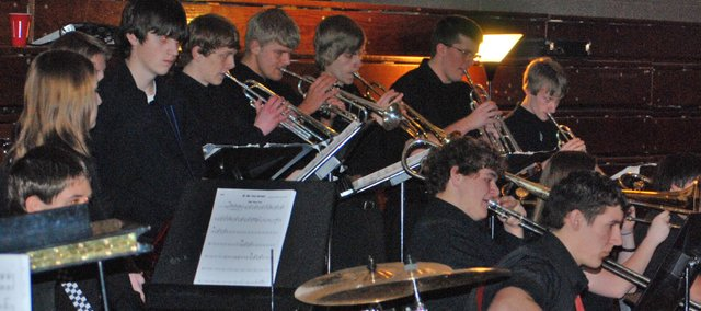 The Basehor-Linwood High School jazz band performs at its annual Jazz Night. The band received donations at the event from local businesses totaling $1,500.
