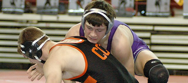 Baldwin High School senior Colin Busby, top, wrestles at the state tournament Friday. Busby was one of four Bulldogs to go 1-2 over the weekend.