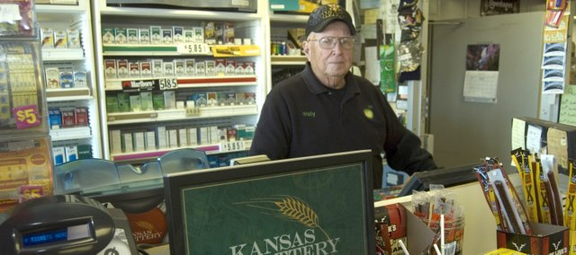 Wally Moore, shown here at B&J BP convenience store in Tonganoxie where he works, won a trip to Hollywood, Calif. He won the trip through Kansas Lottery's Deal or No Deal second-chance drawing.