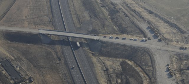Construction of the turnpike interchange at County Road 1 and Interstate-70 continues  south of Tonganoxie. The photo, taken Tuesday, is looking from west to east.