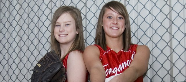 Emily Gripka and Lauren Himpel, the only seniors on a relatively inexperienced Tonganoxie High softball team this season, hope to lead a young Chieftains squad to success.