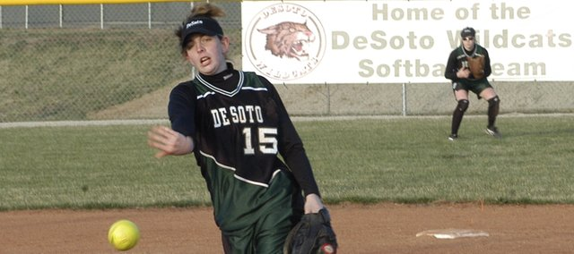 Katie Williams delivers a pitch during a game last season. Williams could be De Soto's pitching ace this season.