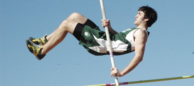 Brian Murdock clears 9-6 in the pole vault Friday at the Baldwin Invitational. Murdock cleared 10 feet and took fifth-place in the event. The De Soto boys took first-place as a team.
