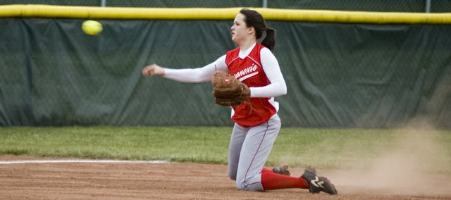 Tonganoxie shortstop Kaitlyn Wolken throws to third for a force out during the Chieftains' 8-2, extra-inning loss to Basehor-Linwood on Thursday.