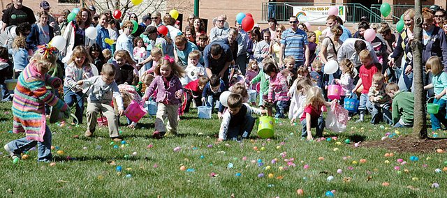 Rainbow Experience Preschool's annual Easter Egg Hunt drew a large crowd Saturday morning on Baker University's campus. The event was held outside for the first time in three years and local families enjoyed the sunny weather.