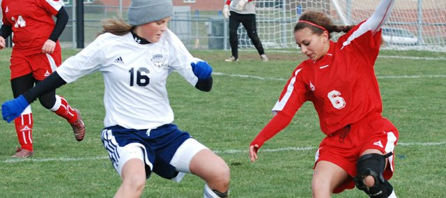 Shyanne Gergick controls the ball in this Mirror file photo. Gergick was one of many Chieftains to lead the Tonganoxie High attack on Monday against a stingy Piper defense that shut out THS, 1-0.