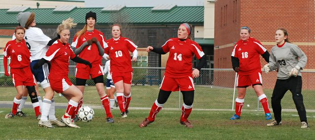The Tonganoxie High defense, seen in this Mirror file photo, played well in the team's 2-1 victory against Spring Hill on Friday.