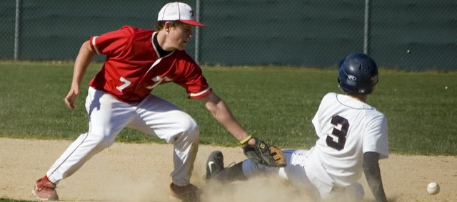 A runner from St. James Academy safely steals second base as Tonganoxie High shortstop Jace Waters tries to apply the tag after the ball got away. The Chieftains lost, 20-10, to the Thunder. It was their second loss of the season and their second in two days.