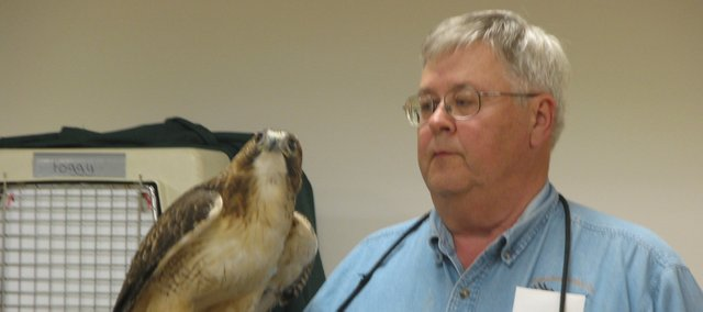 Operation Wildlife volunteer Bill Whinery holds a red-tailed hawk, one of the wild animals housed at the clinic in Linwood. Whinery said Operation Wildlifes goal was to rehabilitate injured animals and send them back into the wild. 