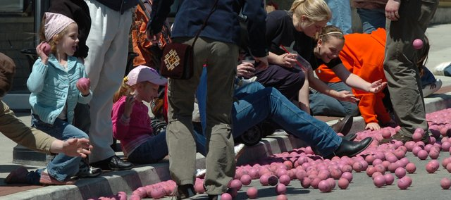 Spectators try to stay clear of the Pinkie balls that raced down Oak Street in 2008. The 2009 Marble Days will be Saturday, May 2, and will include a few new features.