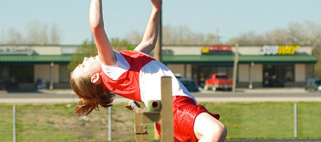 Alissa Donnelly breaks the Tonganoxie Middle School girls' high jump record with this 5 foot 1 inch jump. Donnelly beat Tracy Hileman's previous 5 foot high jump record for the middle school.