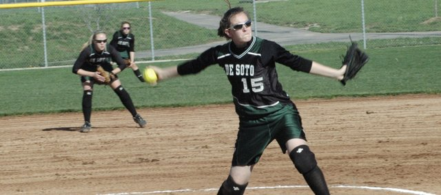 Katie Williams struck out 29 batters in De Soto's sweep over Louisburg Tuesday night.