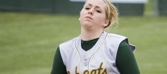 Shelby Pierce, Basehor-Linwood pitcher, fires a pitch during a game earlier this season. Pierce struck out 21 batters during a 23-inning game on April 28 at Lansing. The game is believed to be the longest high school softball game in Kansas history.