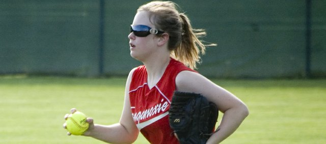 Senior Tonganoxie High right fielder Emily Gripka runs in after catching a fly ball on Thursday during the Chieftains' Senior Night sweep of Bishop Ward.
